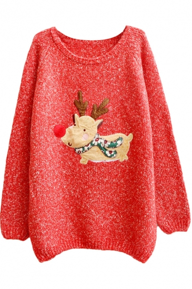 Christmas Deer Applique Must-have Long Sleeve Sweater with Round Neck