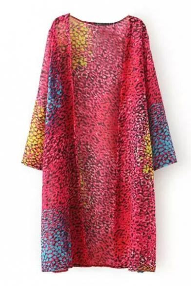 Colorful Leopard Print Longline Kimono