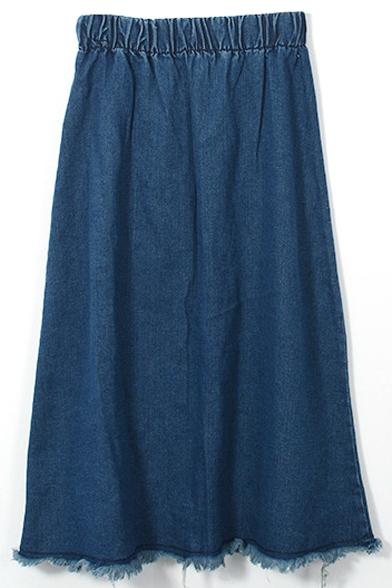 Dark Blue Elastic Waist Cut Off A-Line Denim Skirt