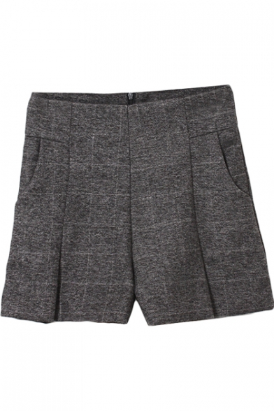 Dark Gray High Waist Cotton Shorts with Zip Fly