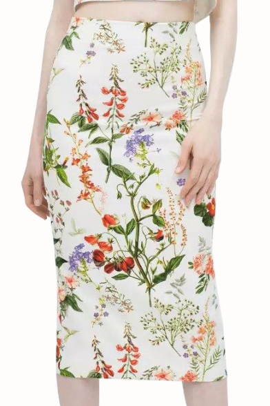 Floral Print High Waist Back Split Skirt