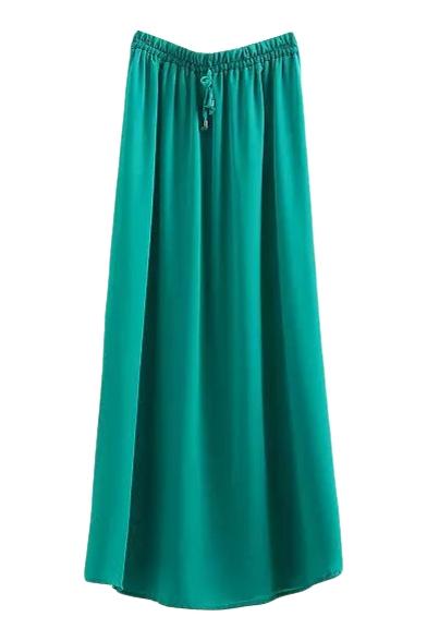 Green Elastic Waist Split Hem Max Skirt Beautifulhalo Com