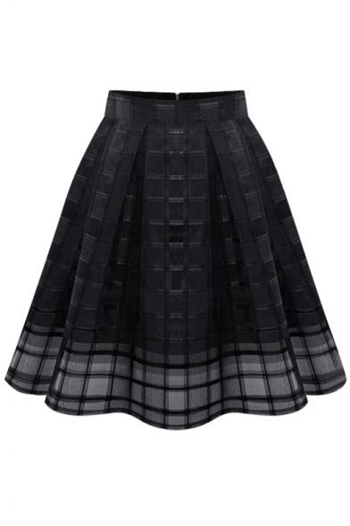 Plain Plaid High Waist Mesh Insert Midi Skirt