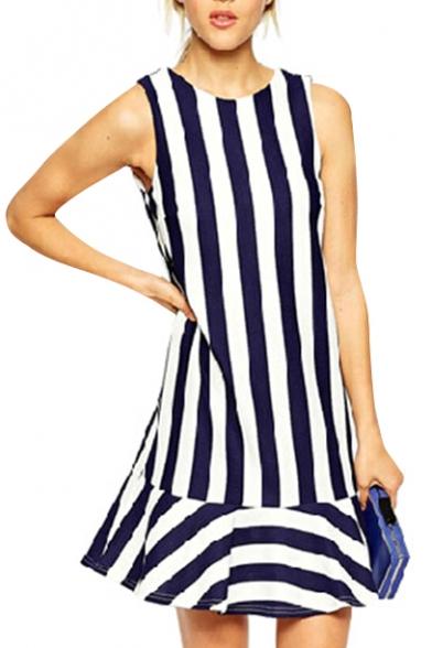 Striped Round Neck Sleeveless V-Back Tank Dress