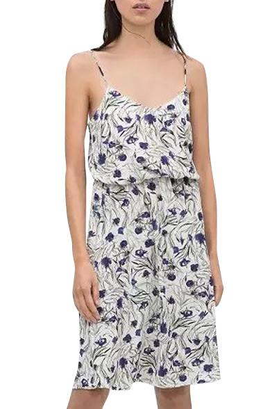 White Background All Over Blue Flora Slip Dress