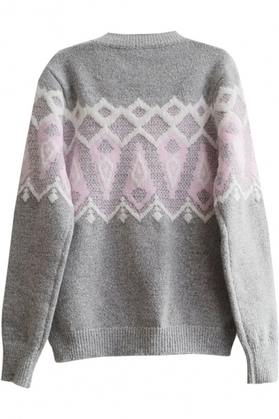 Round Long Jacquard Sleeve Wool Sweater Blend Geometric Neck UZPq5Uw