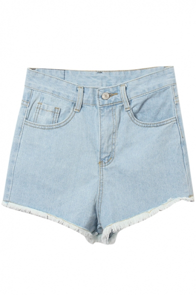 Light Blue High Waist Plain Denim Shorts with Frayed Cuffs ...