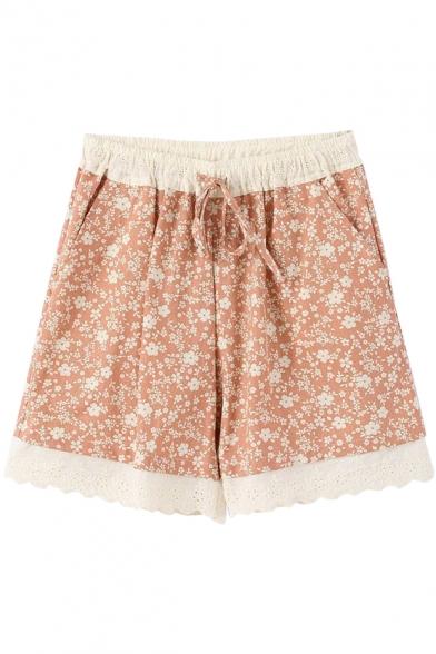 Pink Background Flora Lace Hem Drawstring Waist Loose Shorts