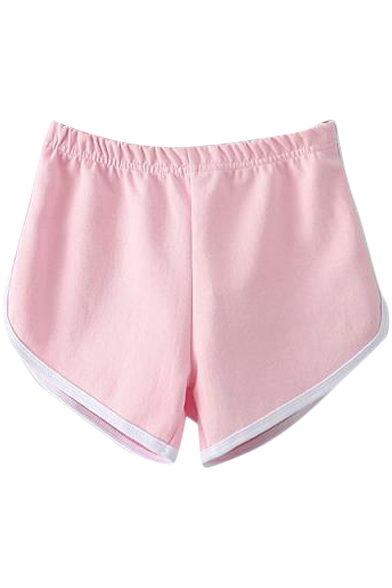 Pink Elastic Waist White Trim Fitted Shorts - Beautifulhalo.com
