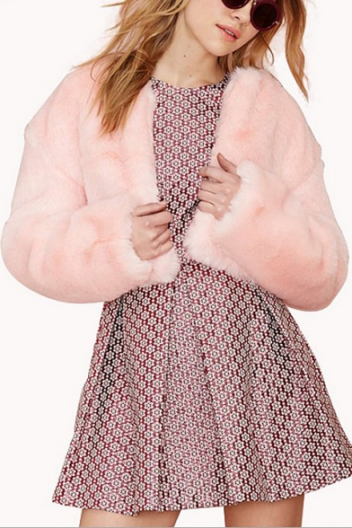 Pink Plain Sweat Open Front Collarless Faux Fur Coat ...