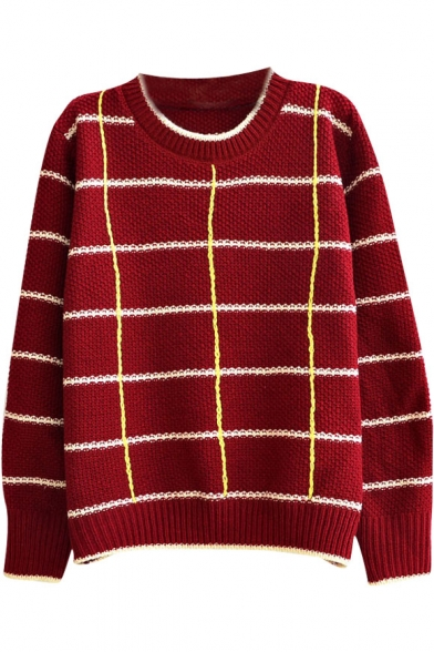 Plaid&Stripe Pattern Contrast Trim Round Neck Long Sleeve Sweater