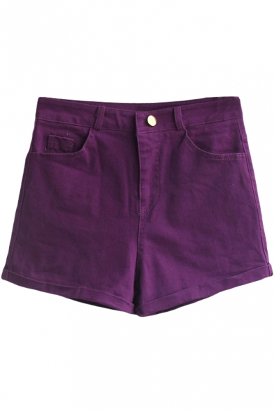 Purple Vintage High Waist Shorts