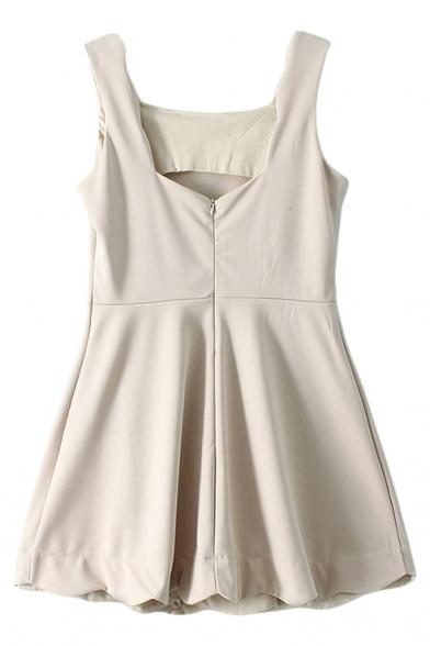 Sleeveless Square Neck Ruffle Hem Tank Dress