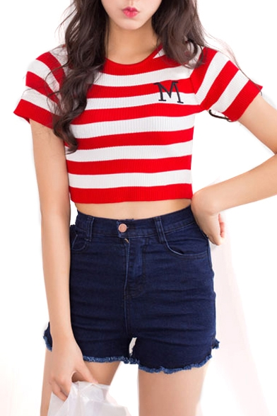 Slim Top Knitting M Stripe Crop Embroidered Short Sleeve rrqU07