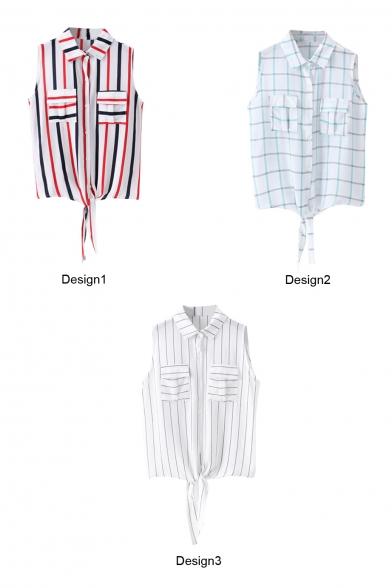 Stripe/Plaid Print Point Collar Pockets Shirt