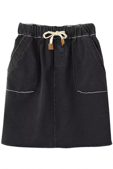 Black High Waist Drawstring Short Denim Skirt