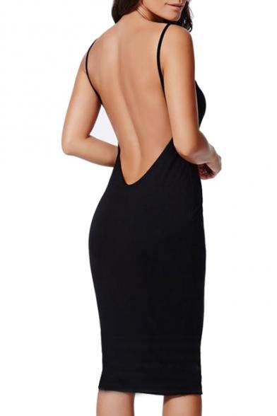 Open  Back Slip Sheath Midi Dress