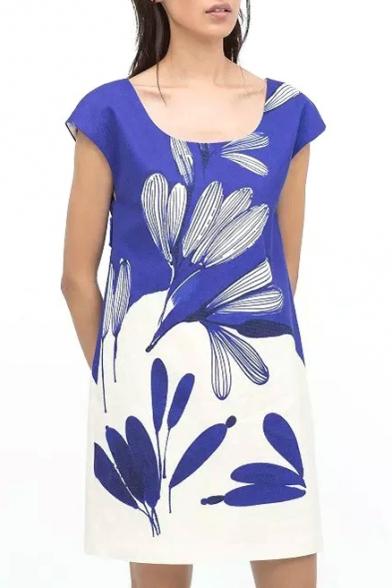 Color Block Floral Print Short Sleeve Dress