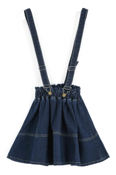 Dark Blue Elastic High Waist Mini Denim Overall Skirt ...