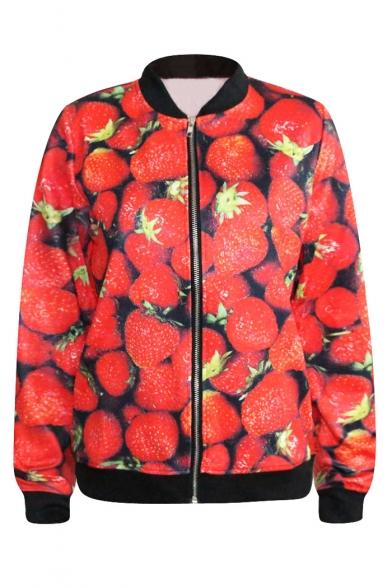 Fresh Strawberry Print Baseball Jacket