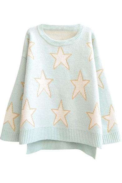 Gold Thread Star Pattern Step Hem Round Neck Long Sleeve Sweater