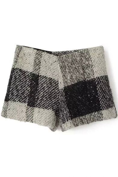 Gray&Black Plaid Wool High Waist Shorts