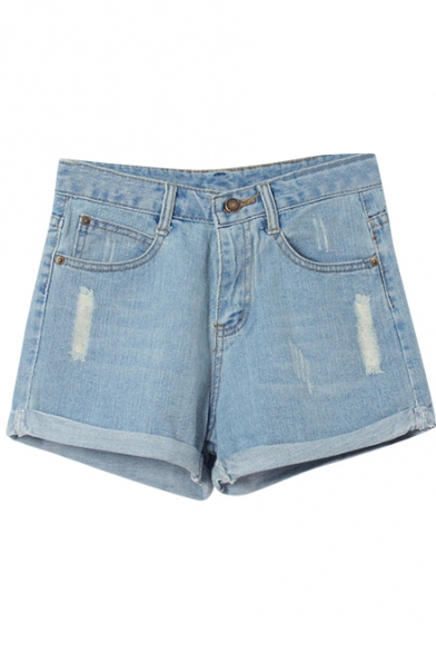Simple Loose High Waist Cuffed Denim Shorts