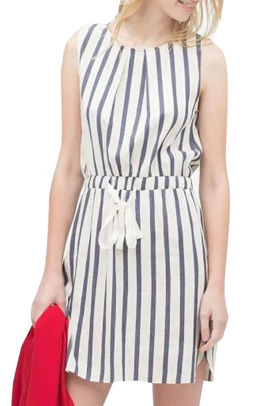 Striped Round Neck Sleeveless Drawstring Waist Dress