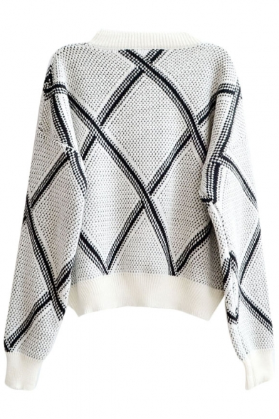 Sweet Geometric Diamond Pattern Round Neck Sweater