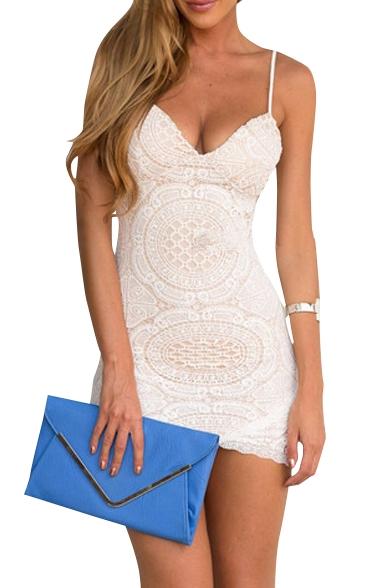 White Lace Crochet Spaghetti Strap Bodycon Dress