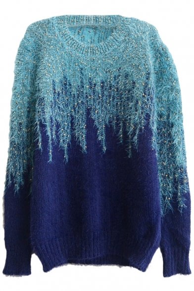 Color Block Omber Gold Thread Insert Long Sleeve Mohair Sweater with Round Neck