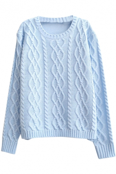 Plain Vintage Diamond Pattern Cable Knitted Round Neck Sweater