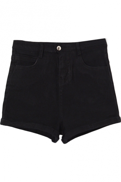 Pure Color High Waist Cuffed Denim Shorts