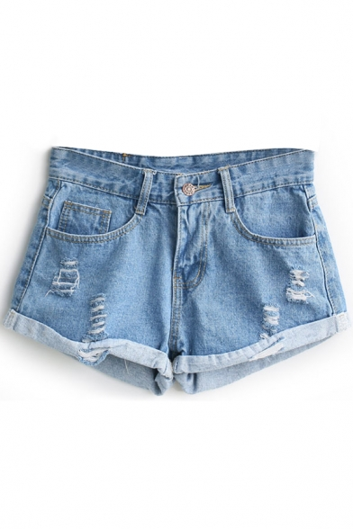 Vintage Blue High Waist Distressed Cuffed Denim Shorts