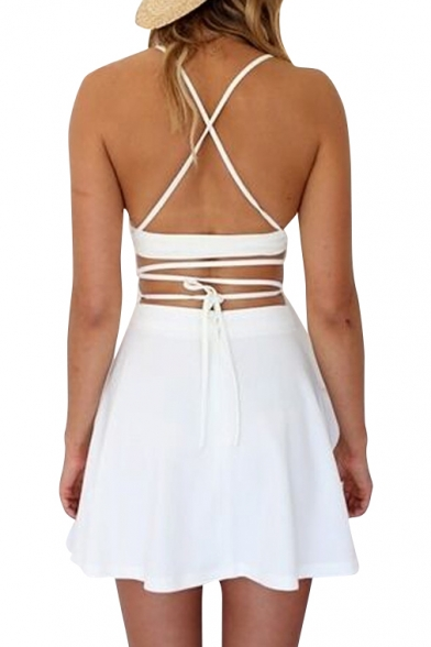 White Halter Two Piece in One Cross Back Dress