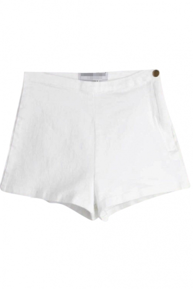 White Plain High Waist Fitted Denim Shorts