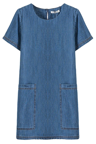 Blue Short Sleeve Round Neck Double Big Pockets Denim