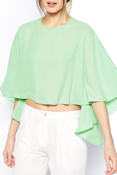 Green Round Neck Batwing Crop Asymmetrical Blouse