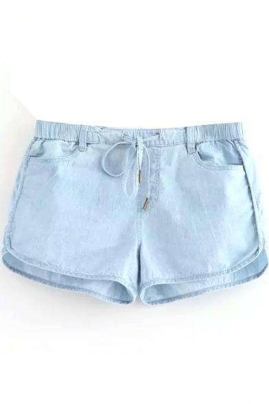 Light Blue Thin Drawstring Loose Shorts - Beautifulhalo.com