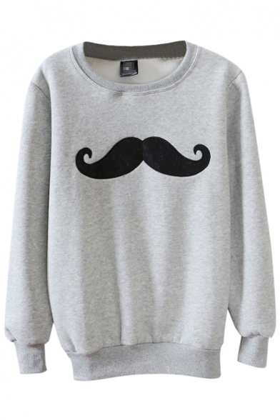 Round Neck Cartoon Mustache Embroidered Long Sleeve Hair Added Sweatshirt