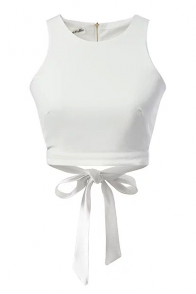 White Bow Tie Hem Crop Tanks