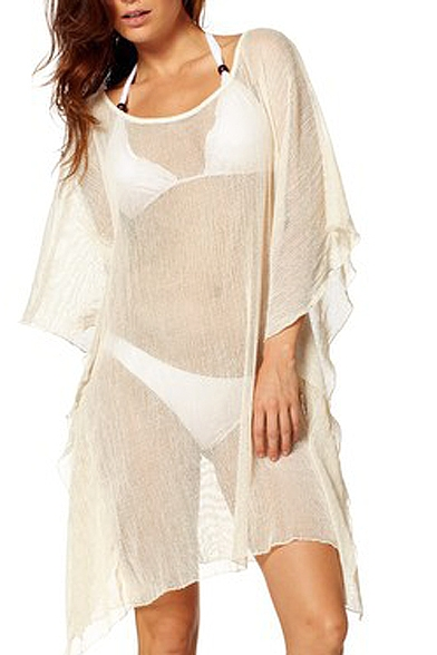 Cream 3/4 Batwing Sleeve Asymmetrical Hem Sheer Cover-Up