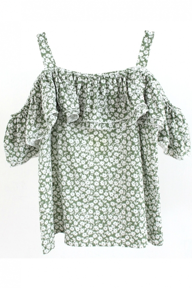 Floral Print Off The Shoulder Ruffled Blouse