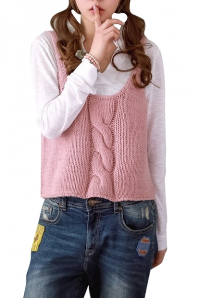 Pink Scoop Neck Sleeveless Cable Knitting Camis