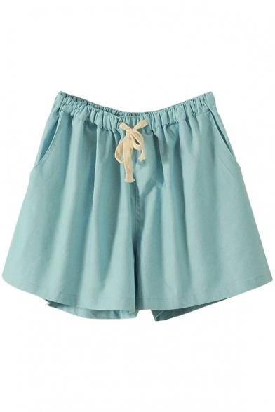 Sky Blue Drawstring Waist Casual Loose Shorts