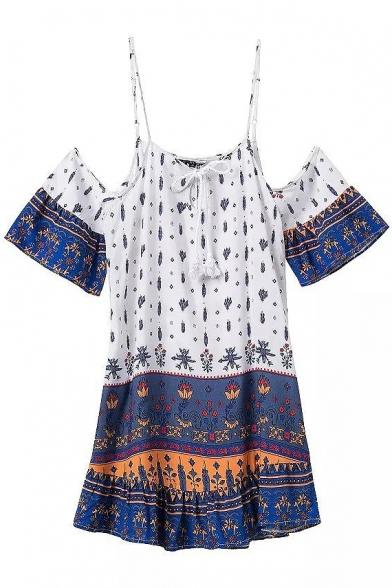 Tribal Print Off The Shoulder Flared Dress