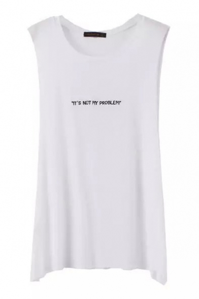 White Sleeveless Sentence Embroidered Concise T-Shirt