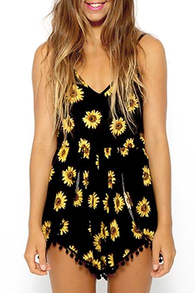 Black Sunflower Print Spaghetti Strap Romper