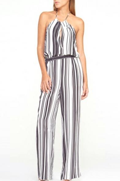 Mono Striped Halter Cutout Front Jumpsuit