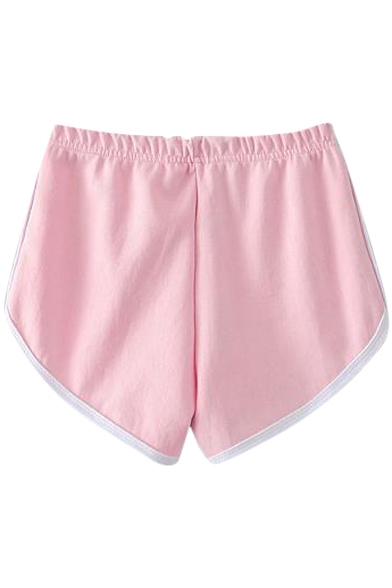 Pink Elastic Waist White Trim Fitted Shorts